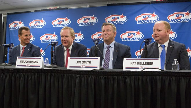 The sudden death of Jim Johannson means his familiar face no longer will be up on the podium during USA Hockey press conferences, such as this one in Plymouth.