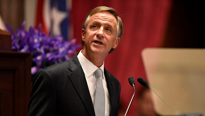 Gov. Bill Haslam delivers his State of the State address at the Tennessee State Capitol Monday, Jan. 29, 2018 in Nashville, Tenn.