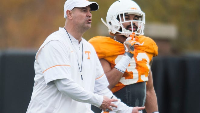 "Vols coach Jeremy Pruitt called Tuesday's practice ""an interesting day."""
