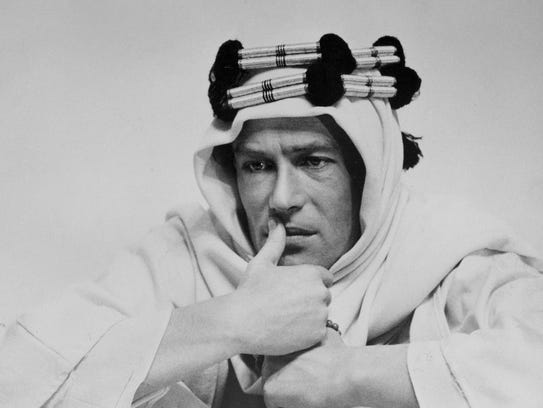 "Peter O'Toole stars in 1962's ""Lawrence of Arabia."""