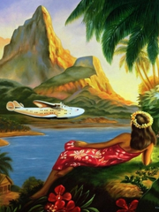 Pan American poster to attract passengers. They called their flying boats Clippers, in honor of the clippers or sailing ships of the 19th century.