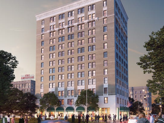 A rendering of the redeveloped Alhambra hotel in Detroit's