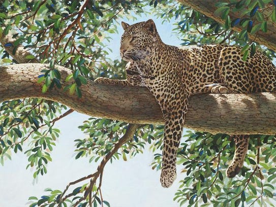 """An example of Guy Coheleach's talent: his """"Liquid Leopard."""""""