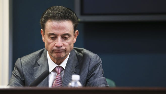 """Louisville coach Rick Pitino reacts during the NCAA findings press conference at Grawmeyer Hall Thursday. """"I'm not guilty of failing to monitor my staff,"""" Pitino said. """"I'm guilty of trusting someone."""""""