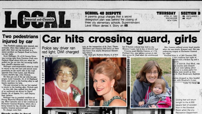 In 1982, crossing guard Bertha Gawens, left,  stepped in front of a car driven by a drunken driver to save Kathryn Brown, center, Rosalind Kew Womack, right, and Lori Fisher, not pictured.