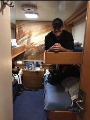 Wittreich in his bunk aboardLa Suprema, an Italian
