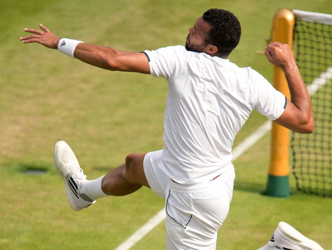 Jo-Wilfried Tsonga celebrates match point against Sam Querrey.