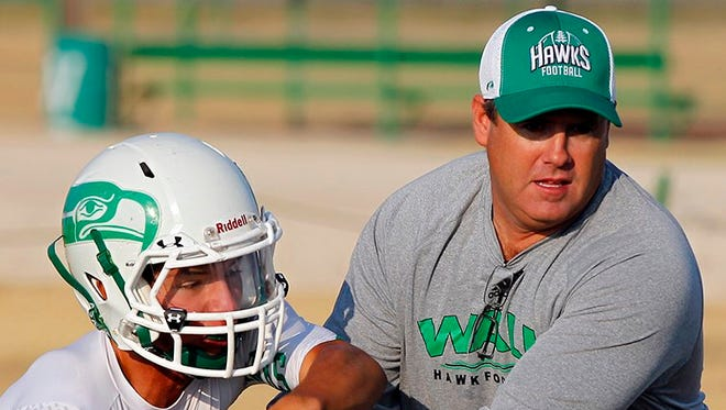 Wall High School head football coach Houston Guy demonstrates a play in the Hawks' flexbone offense.