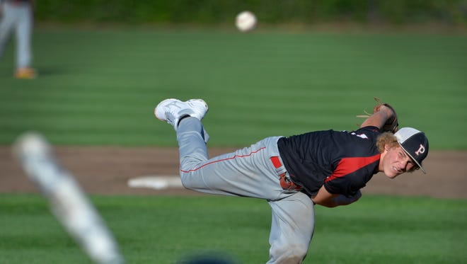Pierz's Matt Tautges pitches against Paynesville in the third inning of their State Class 2A quarterfinal game Thursday, June 16, at Dick Putz Field. Pierz won 13-0.