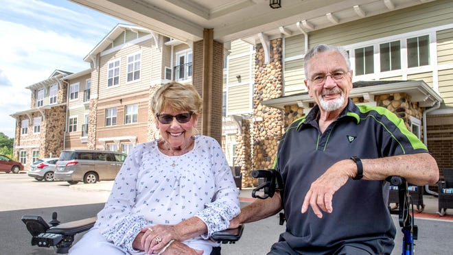 """Sandy Wright, left, and her husband Dick have lived at Heartis Village of Peoria,  8201 North Illinois Rt. 91, for the past two and a half years. Though some residents and family members objected to the $750 COVID-19 fee the facility recently imposed, the Wrights were OK with it. """"Yes, on the one hand it's disheartening that we have to pay $750, but on the other hand I am thrilled to pay that because we got what we wanted, which was a whole facility that didn't have COVID,"""" said Dick Wright."""