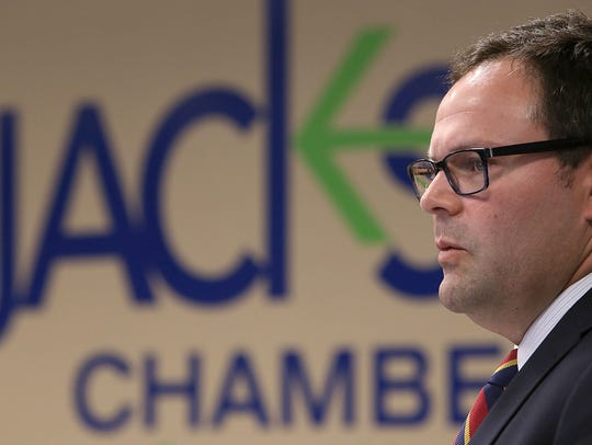 Tennessee Chamber of Commerce and Industry CEO Bradley Jackson speaks during a business roundtable discussion at the Jackson Chamber, on Wednesday Sept. 30, 2015.