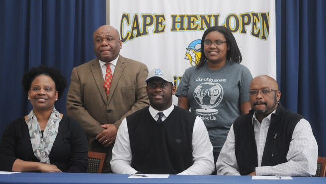 Cape Henlopen senior Brandon Nixon will attend the University of Delaware to continue his football career. He is accompanied by his family, mom, Kim, dad, Brian, sister, Christa and Cape head coach Bill Collick.
