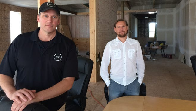 Michael Pelland and Nate Lehner, CEO and marketing director at Princeton Audio, display the second floor of their building in downtown Princeton, currently undergoing renovation.