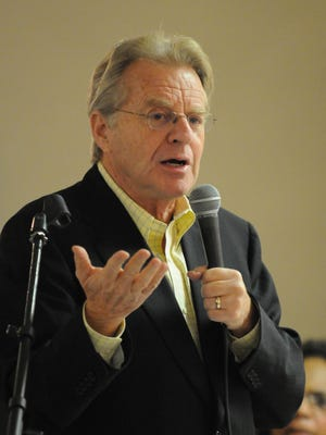 Jerry Springer, shown here in a 2011 talk in Fremont, is returning to the city on April 20 to speak at a Democratic Party banquet.