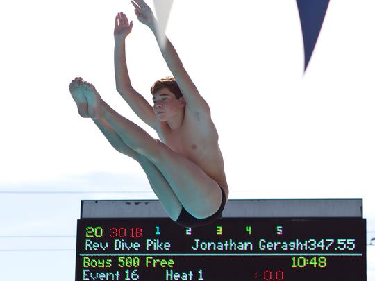 Jonathan Geraghty of Lincoln Park Academy competes in the diving competition during the 2016 FHSAA 2A Swimming and Diving State Championships on Saturday, November 12, 2016 at Sailfish Splash Waterpark in Stuart.
