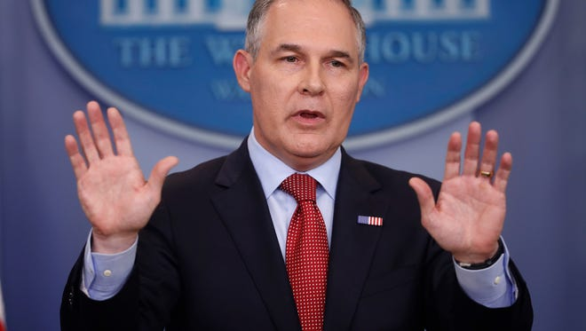 In this June 2, 2017, file photo, Environmental Protection Agency Administrator Scott Pruitt speaks to the media during the daily briefing in the Brady Press Briefing Room of the White House in Washington.