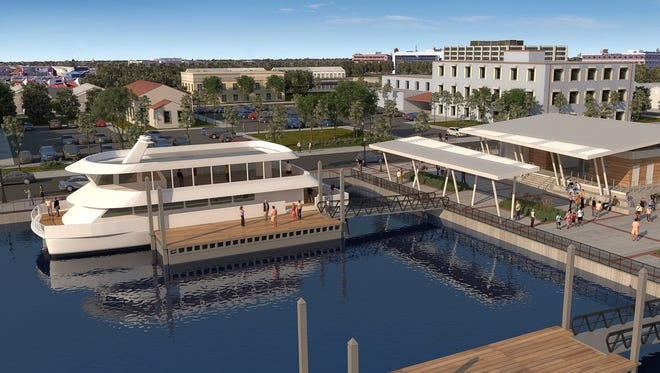 A rendering shows what the Pensacola Bay ferry docks will look like in downtown Pensacola.