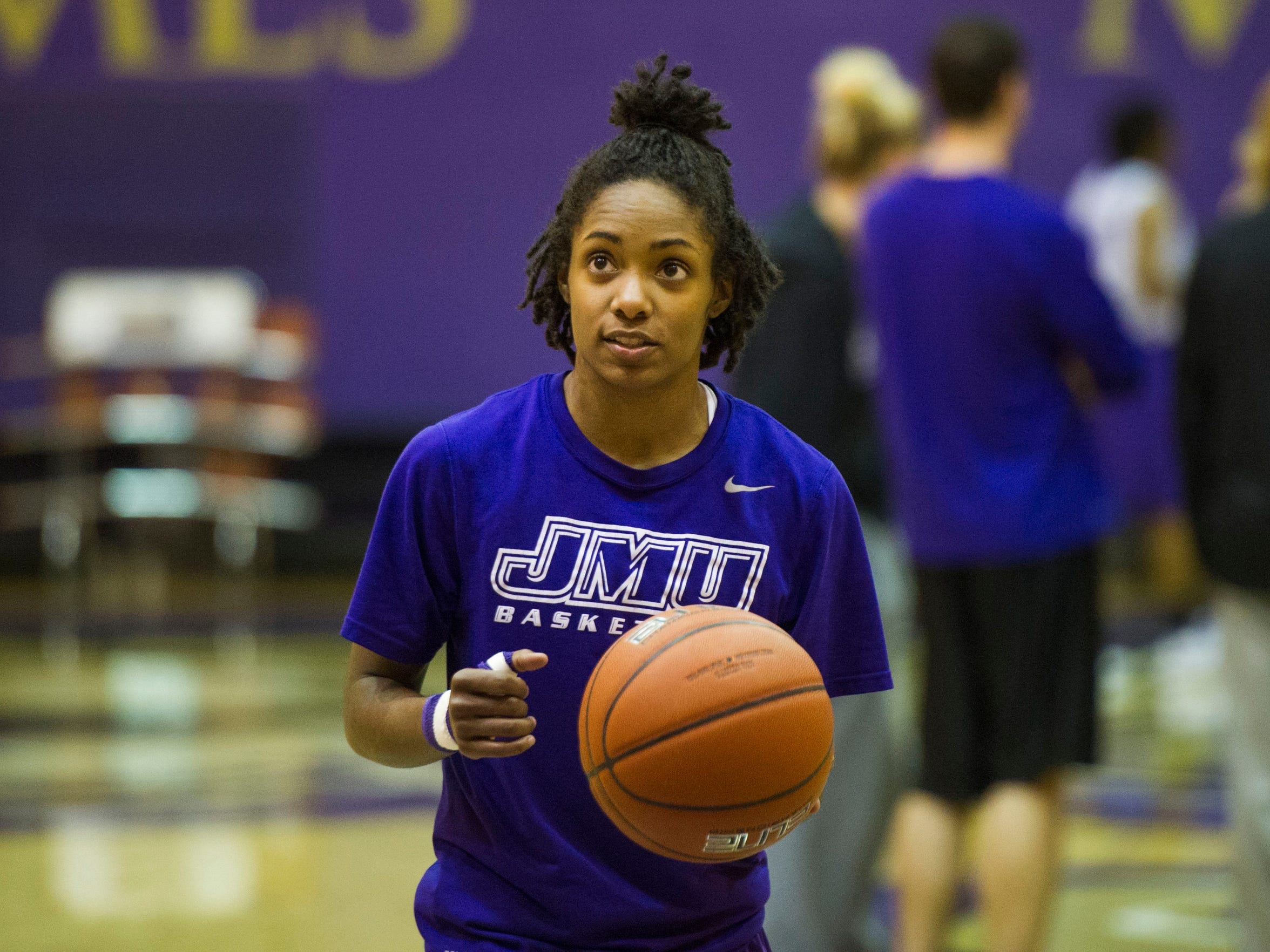Angela Mickens, a point guard for James Madison University's
