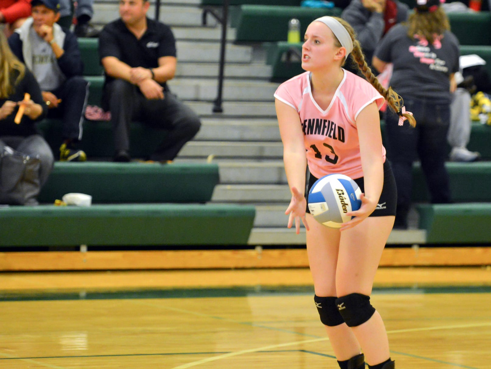 Pennfield's Kennedy Barlond prepares to serve in the second match against Northwest Wednesday night.