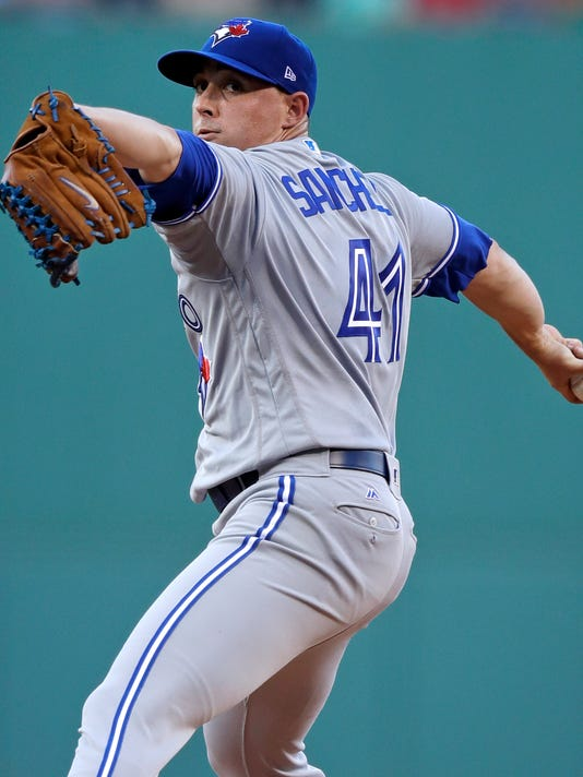 Toronto Blue Jays starting pitcher Aaron Sanchez delivers during the first inning of a baseball game against the Boston Red Sox at Fenway Park in Boston, Wednesday, July 19, 2017. (AP Photo/Charles Krupa)