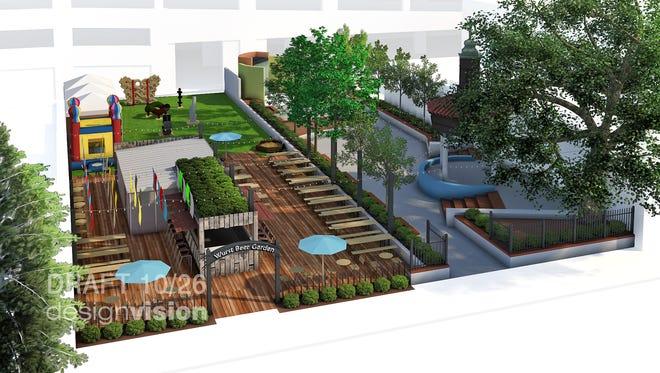 A rendering of The Wurst Biergarten next to Parc Lafayette.