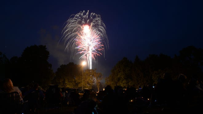 Fireworks light up the sky Saturday, July 4, 2015, over Glen Miller Park in Richmond.