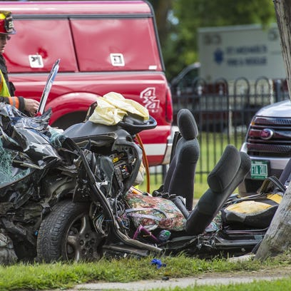 All five occupants of a car that hit a power pole on Route 15  outside the entrance to St. Michael's College in Colchester were injured and transported to the hospital on Thursday, August 27, 2015, according to initial reports from police on the scene.