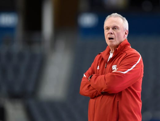 Wisconsin Badgers head coach Bo Ryan watches his team during practice before the semifinals of the Final Four in the 2014 NCAA Mens Division I Championship tournament at AT&T Stadium.