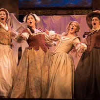 Maariana Vikse as Meg Page, Victoria Cannizzo as Alice Ford, Sharin Apostolu as Nannetta and Ann McMahon Quintero as Quickly in the OperaDelaware 2016 Opera Festival production of 'Falstaff.'