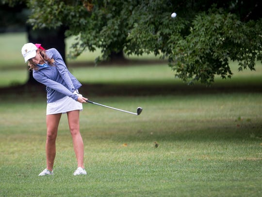 Ashlie Powell, Delta's senior golfer, competes in sectionals Saturday afternoon at the Crestview Golf Club in Muncie.