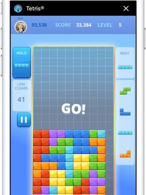 A screenshot of Tetris for Facebook Messenger.
