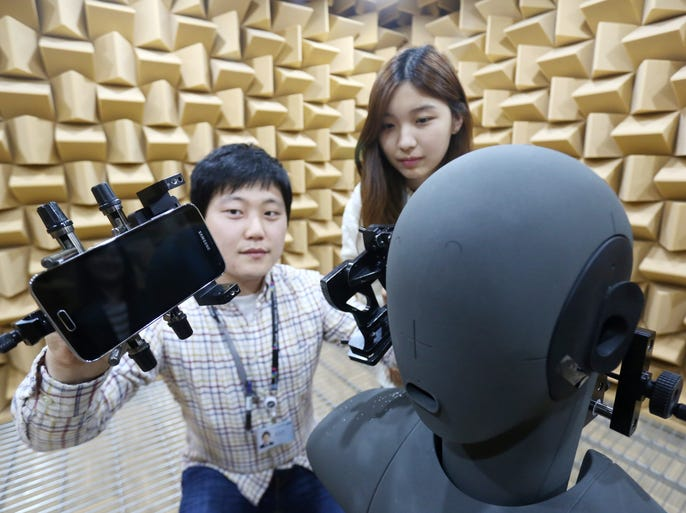 Samsung developers are testing the audio capabilities of the Galaxy S5 in this Anechoic Chamber in In the South Korean industrial town of Gumi, about a 45-minute helicopter ride from Seoul.
