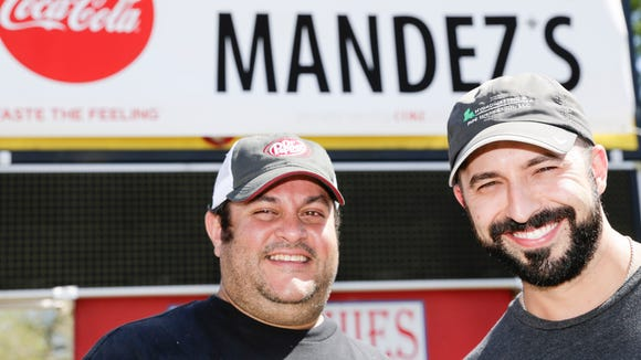 Co-owners Jeff Hernandez, left, and Ryan Manfre of Mandez's, opening soon at the former location of Who Daq's in Lafayette Mon., March 20, 2017.