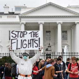 An Ebola protester outside the White House in October.