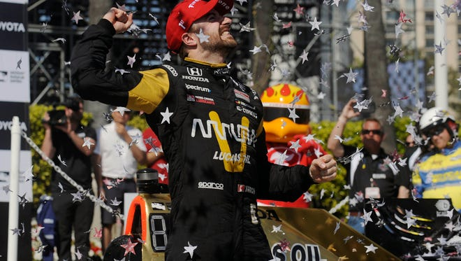 James Hinchcliffe celebrates his victory of the Toyota Grand Prix of Long Beach at Streets of Long Beach.