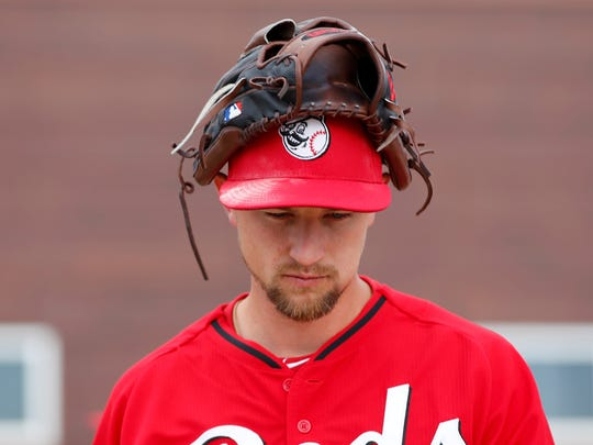 Reds starting pitcher Mike Leake, pictured Sunday at