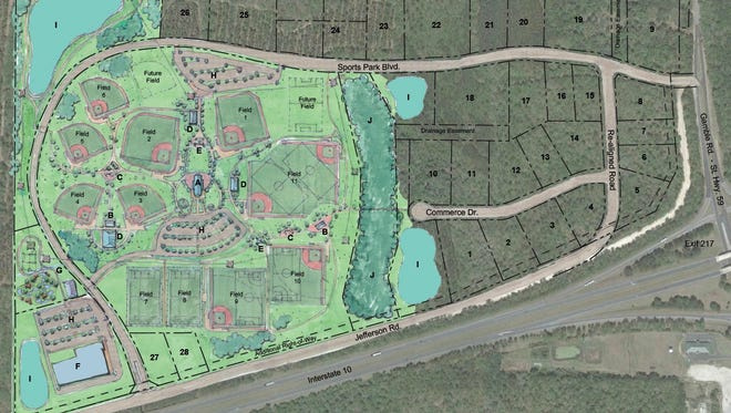 An artist's rendition of the proposed plan for a mult-sports complex in Lloyd, 20 miles east of downtown Tallahassee off I-10.