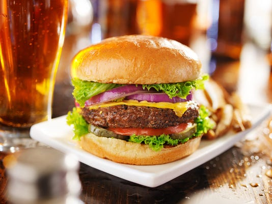cheeseburger with fries and beer
