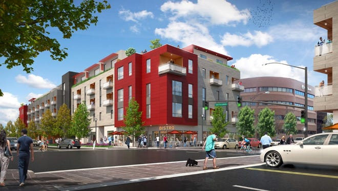 DHD Ventures submitted a $30.8 million proposal for the Inner Loop that included apartments and townhouses, retail and park space. This view is looking southwest at Union Street and East Avenue.