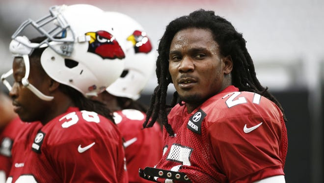 Arizona Cardinals running back Chris Johnson during his first at training camp on Tuesday, August 18, 2015 at the University of Phoenix Stadium in Glendale, AZ.