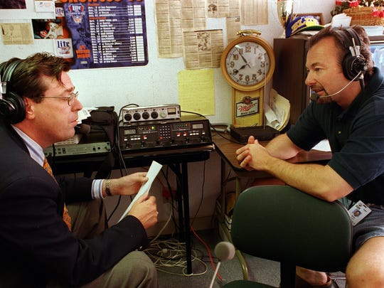 Longtime central Iowa sports talk radio hosts Marty Tirrell, left, and Ken Miller, are pictured together in 1997.