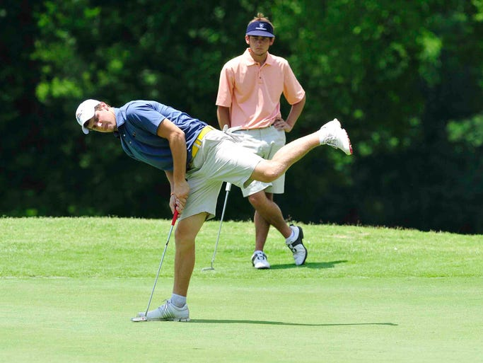 Scotty Hudson leans into his shot at Schooldays golf tournament at McCabe Golf Course in Nashville, Tenn. June 3, 2014.