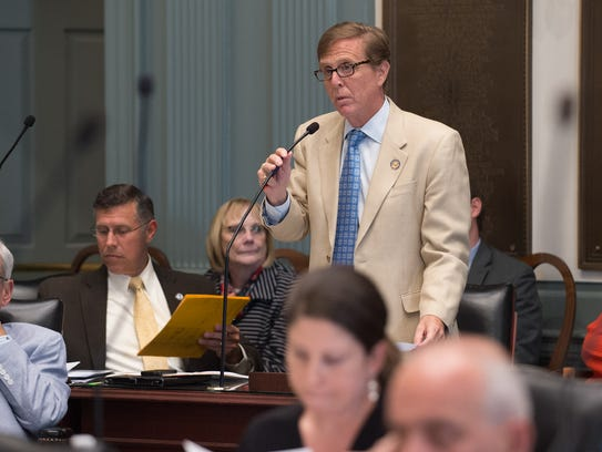 State Rep. Michael Ramone, R-Pike Creek Valley, addresses the House at Legislative Hall in Dover.