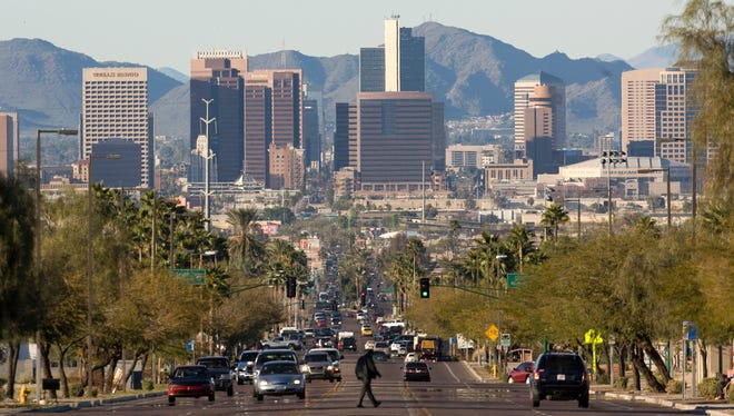 Downtown Phoenix, as seen from Central Avenue from the South looking North.
