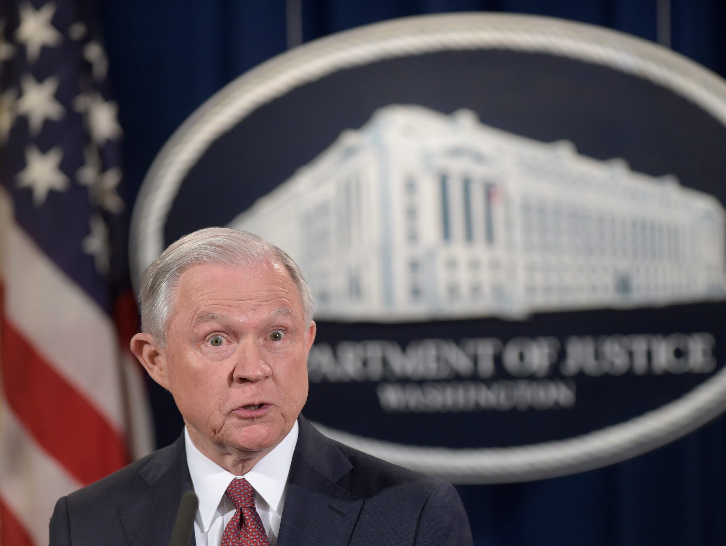Attorney General Jeff Sessions makes a statement on