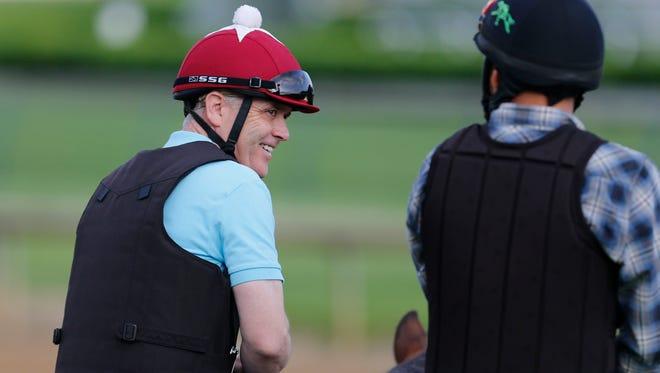 Donnie Von Hemel, trainer for Kentucky Derby hopeful Suddenbreakingnews, watches training this week at Churchill Downs.