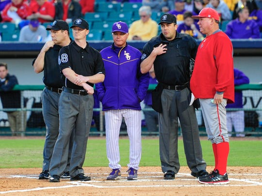 UL baseball coach Tony Robichaux (right) and LSU baseball
