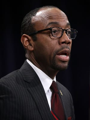 Cornell Brooks, president and CEO of the National Association for the Advancement of Colored People (NAACP), speaks during an annual African American History Month Observance Program February 23, 2016 at the Justice Department in Washington, DC.