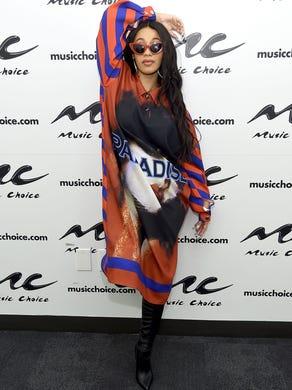 NEW YORK, NY - APRIL 10:  Cardi B visits Music Choice