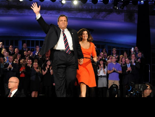 Chris Christie celebrates in 2013